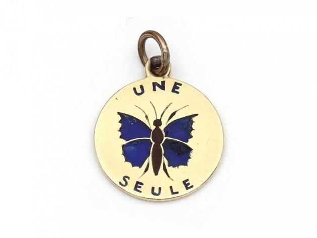 Antique French 'une seule me console' gold butterfly pendant