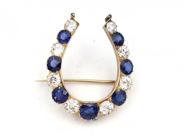 Victorian sapphire and diamond horseshoe brooch