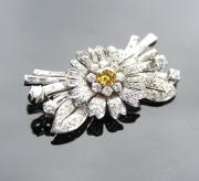 Vintage 1950's brooch set with yellow diamond centre