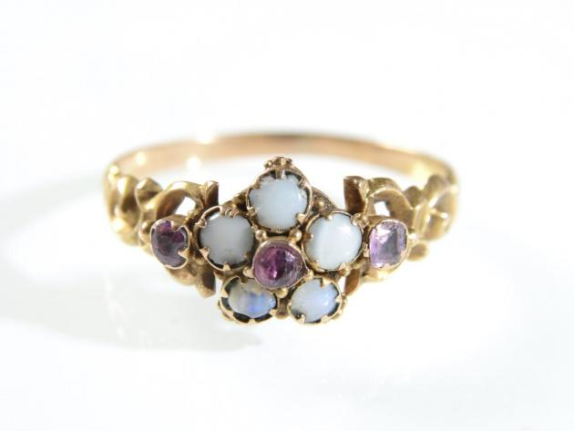 Victorian garnet and opal flower cluster ring