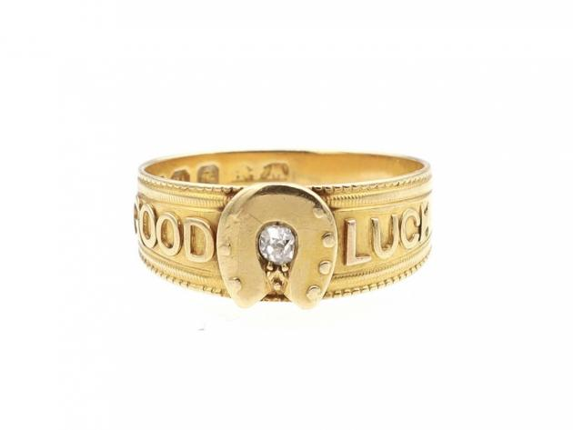 1887 antique diamond 'Good Luck' ring in 18kt yellow gold