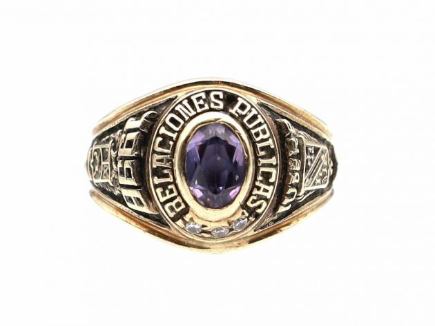 Vintage amethyst and black enamel college ring in yellow gold