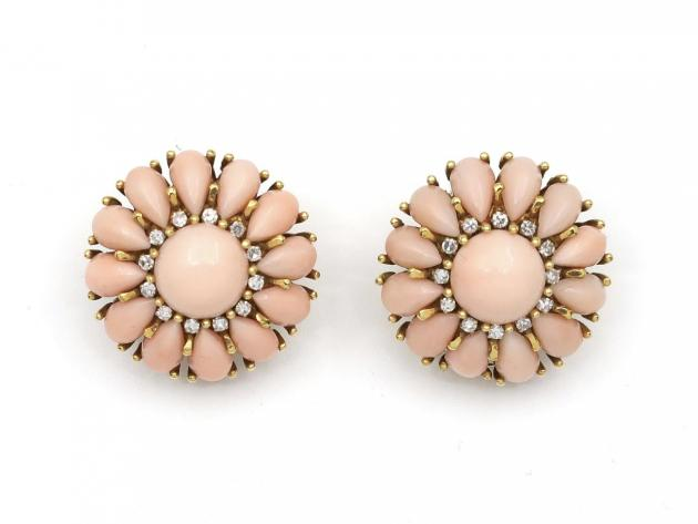 1960s angel coral and diamond floral cluster clip earrings