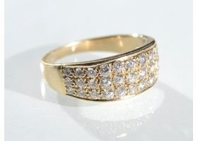 Vintage three row diamond set band in 14kt yellow gold