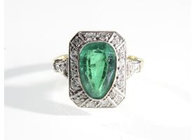 Art Deco pear shape emerald and diamond cluster ring