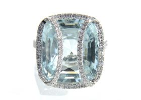 Modern aquamarine and diamond cocktail ring