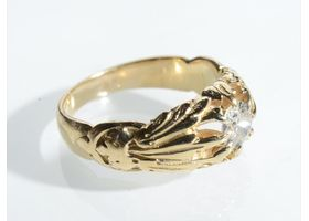 French antique diamond set carved ring in yellow gold