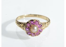 Victorian natural pearl and ruby coronet cluster ring