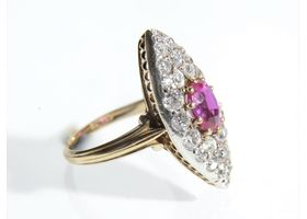 1890s Burmese ruby and diamond marquise cluster ring in gold