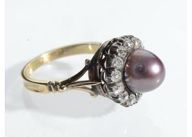 Antique natural Tahitian pearl and old mine diamond ring