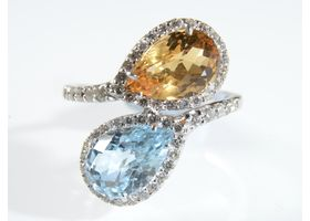 Citrine and blue topaz two stone crossover dress ring