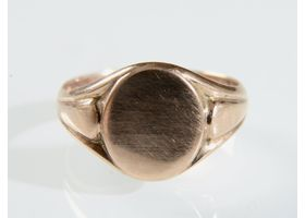 Edwardian 9kt rose gold oval signet ring