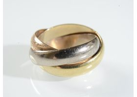 Cartier vintage trinity ring in 18kt white, yellow and rose gold
