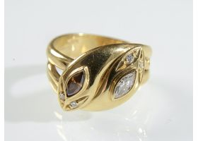 Contemporary cognac diamond double snake ring in yellow gold