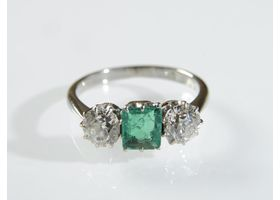 Vintage Colombian emerald and diamond three stone ring