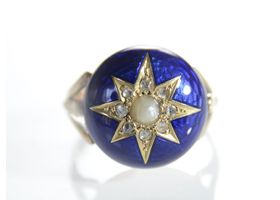 Victorian pearl diamond and blue enamel star ring