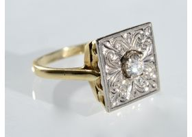 Antique Old Mine diamond plaque ring in yellow gold