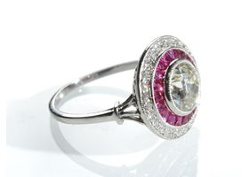 Art Deco style diamond and ruby target ring in platinum