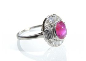 1950s star ruby and diamond oval cluster ring in platinum