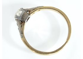 Antique cushion shape diamond solitaire in 18kt gold