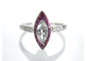 1920s marquise diamond and ruby target ring in platinum