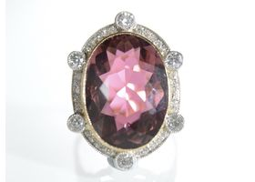 Edwardian reddish purple tourmaline and diamond cluster ring
