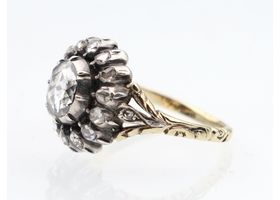 Georgian style rose cut diamond cluster ring in silver and gold