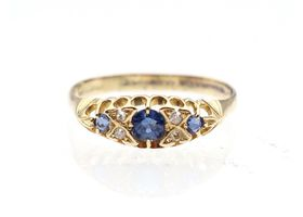Victorian sapphire and diamond three stone ring in yellow gold