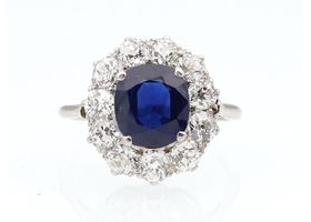 Edwardian 3ct untreated sapphire and diamond cluster ring