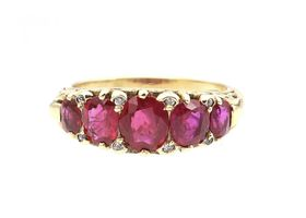 Victorian ruby five stone ring in 18kt yellow gold