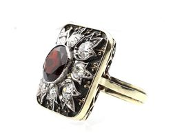 Antique Richter Von Berchem garnet and diamond dress ring