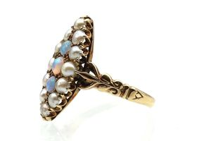 Edwardian opal and seed pearl marquise cluster ring in gold