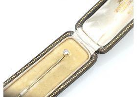 Vintage 14kt yellow gold rubover set diamond stick pin