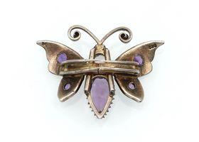 Antique Eastern European silver Amethyst butterfly clip