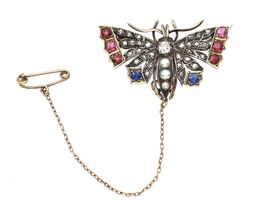 Victorian diamond, natural pearl, ruby and sapphire butterfly brooch
