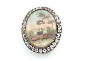 French Georgian love birds brooch in silver