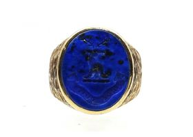 Vintage 'If I can' lapis lazuli intaglio signet ring in yellow gold