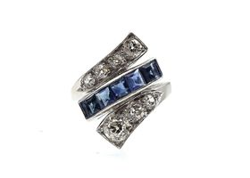 Art Deco sapphire and diamond twist ring in platinum