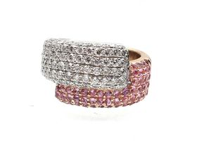 David Morris diamond and pink sapphire crossover ring
