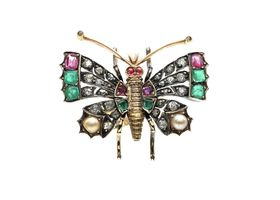 Antique ruby, pearl, emerald and diamond butterfly ring