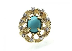 Turquoise and diamond fancy openwork cluster ring in gold