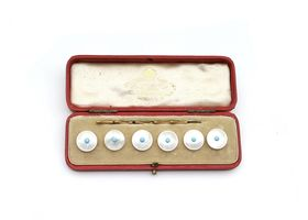 Antique mother of pearl and turquoise button set