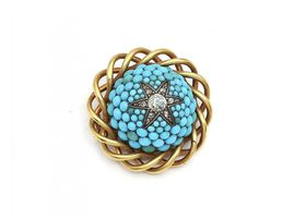 Victorian diamond and turquoise star brooch in yellow gold