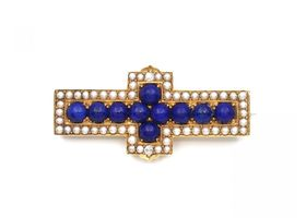 Victorian Lapis Lazuli, seed pearl and diamond cross brooch