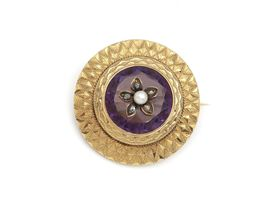 Antique French pearl diamond and amethyst circular brooch