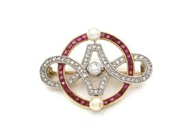 Edwardian diamond, natural pearl and ruby set openwork brooch