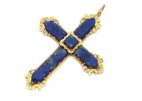 Antique yellow gold and lapis lazuli cross in Rococo style