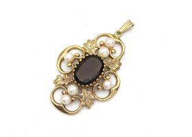 Vintage smokey quartz and pearl open work pendant in gold