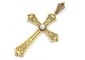 French 18kt yellow gold openwork cross pendant set with a pearl