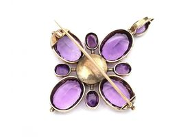 Antique convertible amethyst cluster pendant/brooch in gold